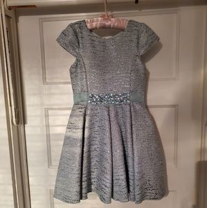 Zoe Ltd Light Blue and Metallic Girls Dress